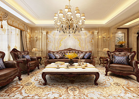 热门138平方四居客厅欧式装修实景图