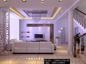 现代别墅客厅背景墙效果图