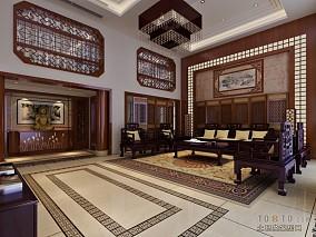 别墅客厅中式风格装修效果图