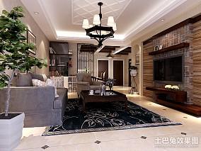 77平米二居客厅美式实景图片大全