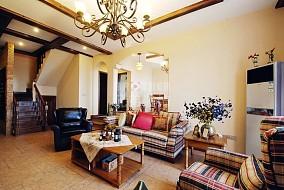 118平米美式复式客厅装修实景图