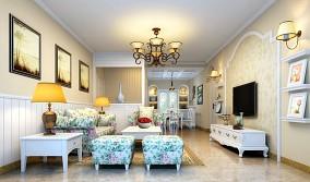 面积82平田园二居客厅装修效果图片欣赏