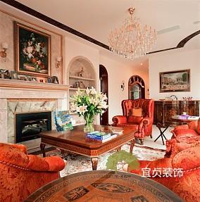 精美面积136平复式客厅美式实景图