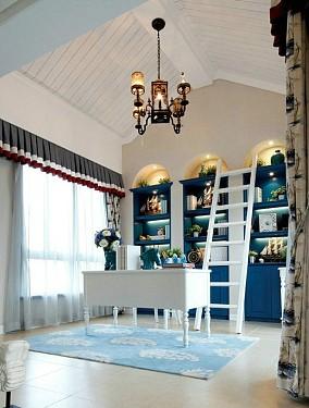 136平米地中海复式书房装修效果图片大全