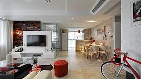 精美74平米现代小户型客厅效果图片